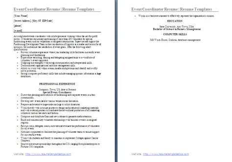 Resume Event Coordinator Objectives by Resume Templates Free Word S Templates