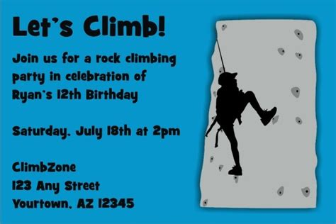 rock climbing invitation  colors personalized party
