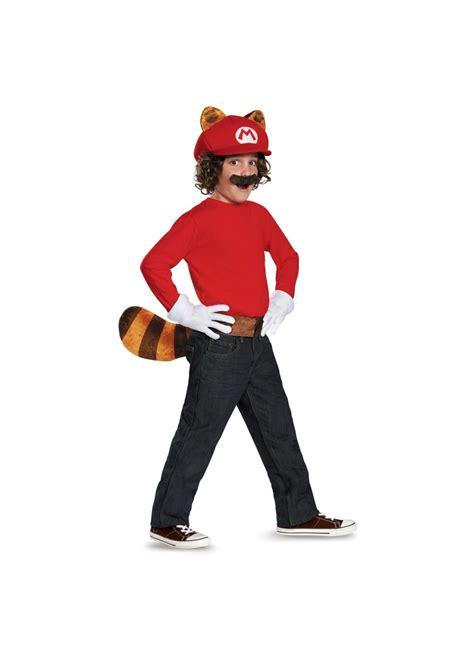 super mario brothers mario raccoon boys costume kit