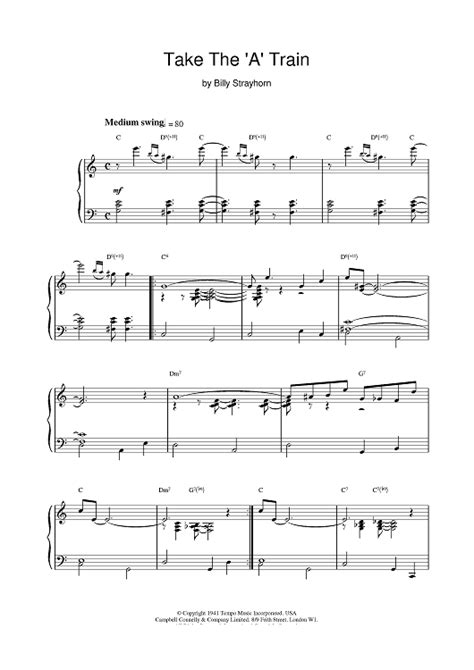 take the a train sheet music music for piano and more