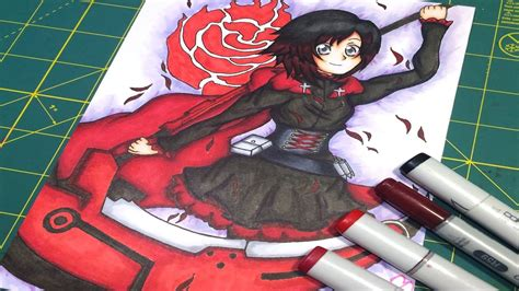 ruby rose rwby fanart copic speedpaint ruby rose rwby fanart youtube