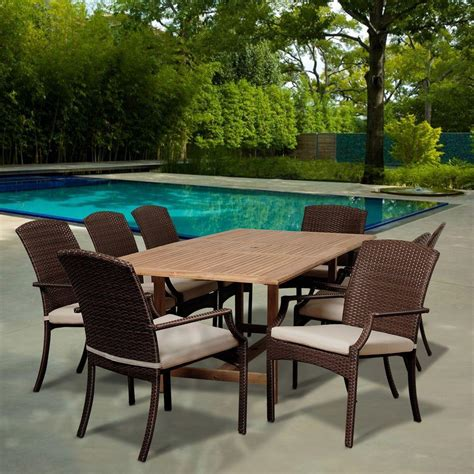 amazonia mason 9 piece teak extendable rectangular patio