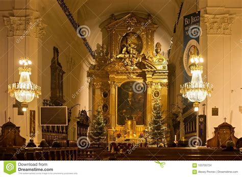 roman catholic church christmas decorations warsaw poland january 02 2016 interior of the catholic church of the holy cross in