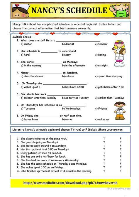 Nancy's Schedule Simple Present Tense Worksheet  Free Esl Printable Worksheets Made By Teachers