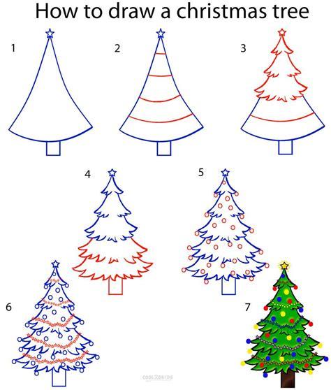 draw  christmas tree step  step drawing tutorial