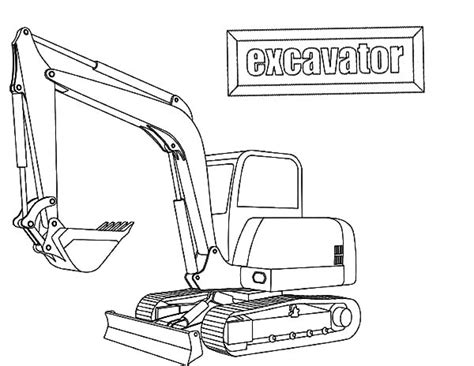 Coloring Excavator by E Is For Excavator Coloring Pages Print