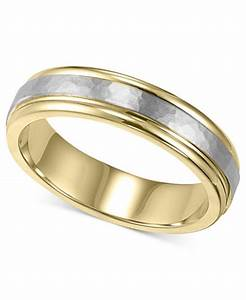 men39s 14k gold and 14k white gold ring two tone hammered With 14k white gold hammered wedding band ring