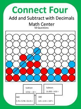 add  subtract  decimals math center game connect