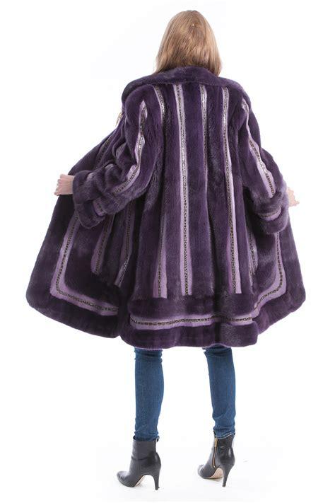 buy mink coat purple fur  leather style fur mink