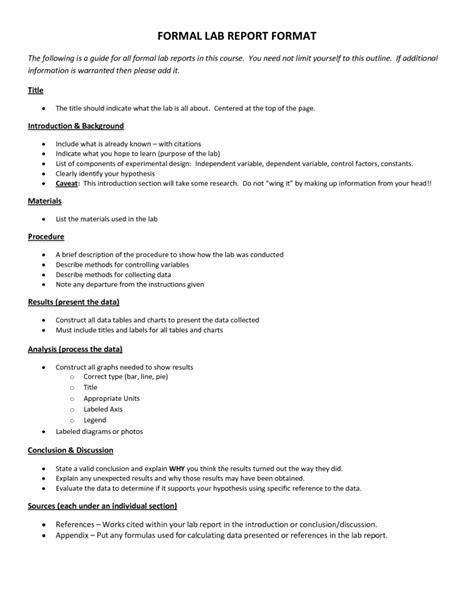 scientific data  formal lab report template formal