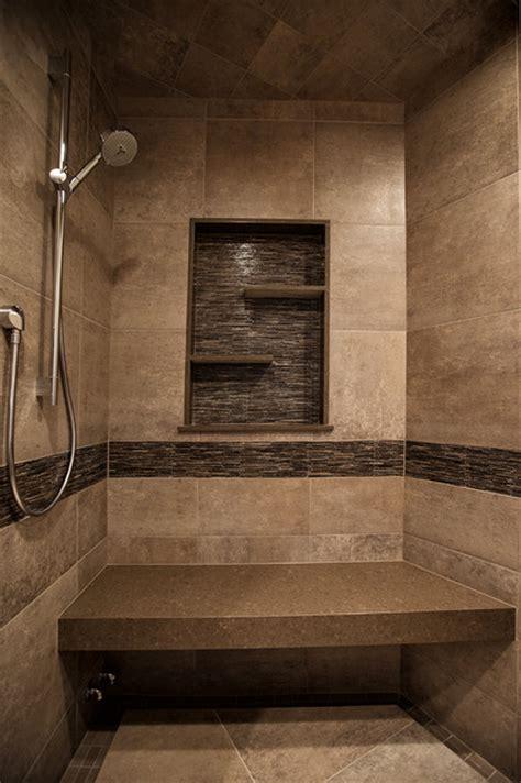 Modern Rustic Bathroom Tile by Mountain Home Shower Rustic Bathroom Denver By Yk