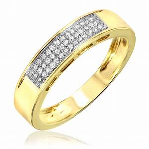 1 6 ct tw diamond men39s wedding band 10k yellow gold With 10k gold mens wedding ring