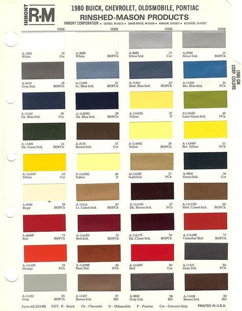 gm car paint color chart images