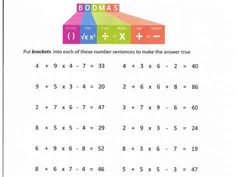 bodmas questions worksheet  worksheet