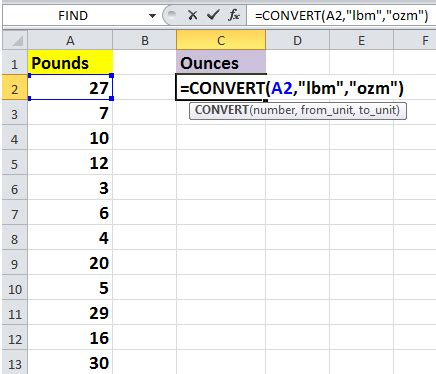 how to quickly convert pounds to ounces grams kg in excel