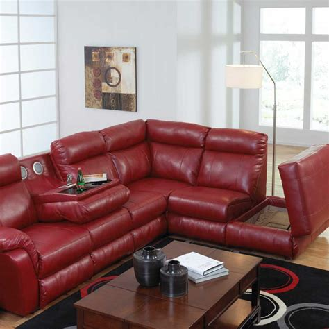 chaise h et h catnapper chastain bonded leather sectional with storage