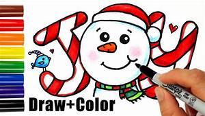 how to draw color snowman joy in bubbble letters step by With color joy letters