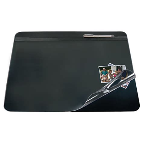 clear desk pad office depot brand overlay desk pad 19 x 24 blackclear by