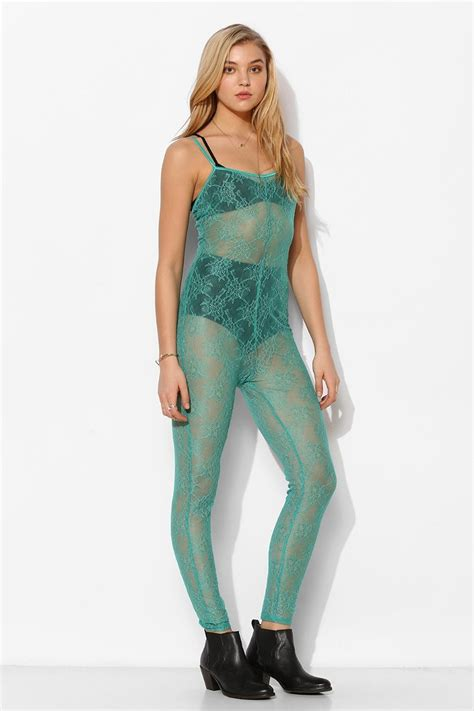 Sheer Lace Jumpsuit pins and needles sheer lace jumpsuit in green teal lyst