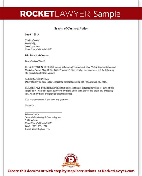 breach  contract notice letter sample