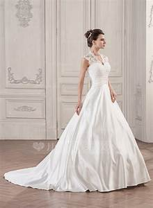 ball gown v neck court train satin lace wedding dress with With satin and lace wedding dress