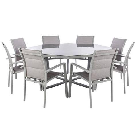 table octogonale en aluminium et verre tremp 233 coloris galet dim 166 x 74cm achat vente