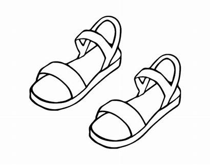 Sandals Coloring Drawing Pages Shoes Draw Flip