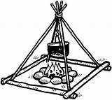 Campfire Smoke Pot Cooking Line Drawing Decals Fires Vinyl Sticker Customize Drawn Signspecialist Beevault Clipartmag Pages sketch template