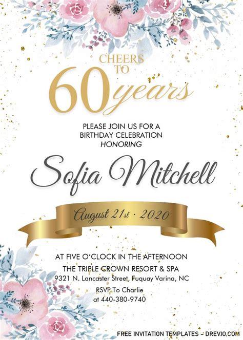 floral  birthday invitation templates editable