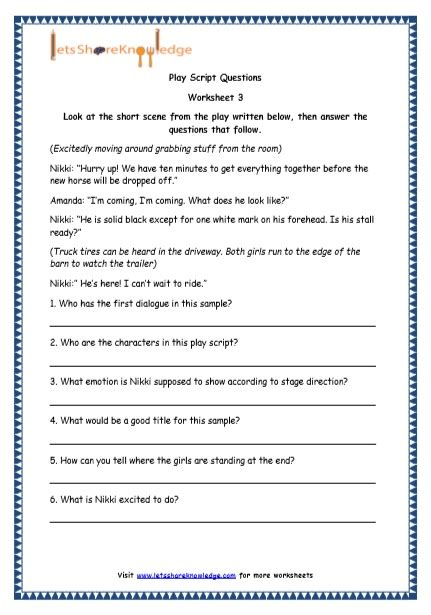grade 4 resources printable worksheets topic play