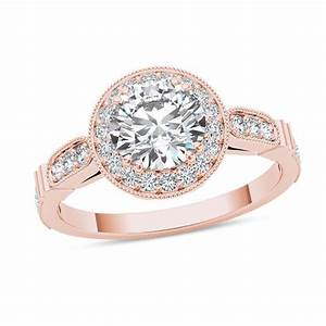 1 14 CT TW Diamond Frame Vintage Style Engagement Ring