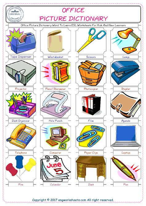 office esl printable english vocabulary worksheets