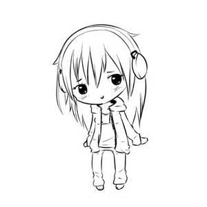 Chibi Anime Girl with Headphones Drawing