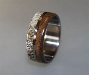 titanium ring deer antler ring antler ring mens With deer antler mens wedding rings