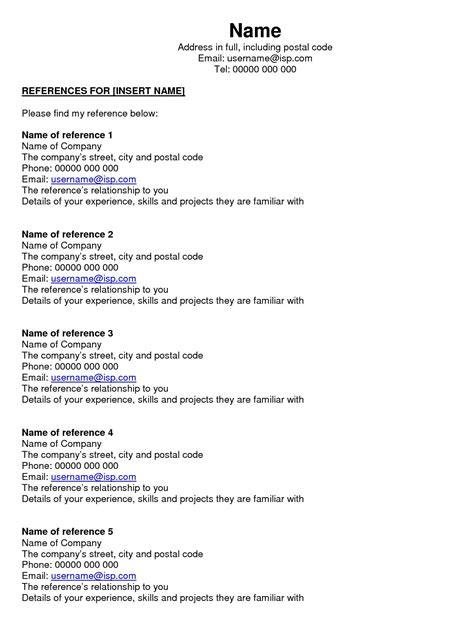 Resume Reference Sheets by Resume Reference Page Template