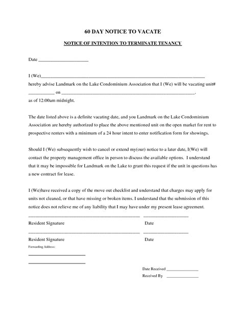 60 Day Notice Apartment Template Best Photos Of Move Out Notice To Tenant Template 30 Day