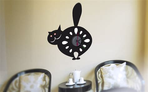pendule de cuisine originale horloge murale sticker design pas cher