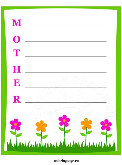 mothers day writing freebie coloring page