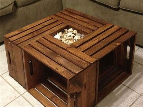 Rustic Square Crate Style Wood Like Coffee Table in contemporary flat