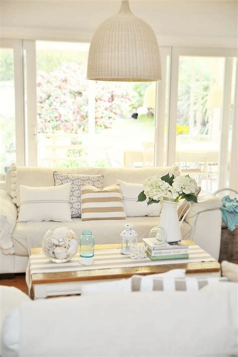 neutral coastal decor   living room