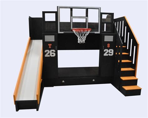 boys loft bed with desk basketball bunk the ultimate locker storage bunk bed