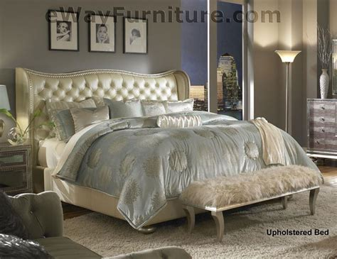 Creamy Pearl Tufted White Leather And Crystal Bedroom Set