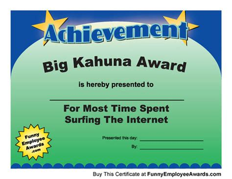 achievement award silly awards gag awards certificates