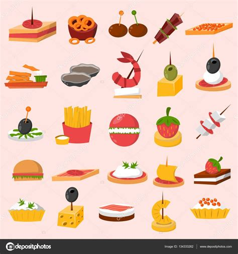 canap victor canape snacks appetizer vector set stock vector