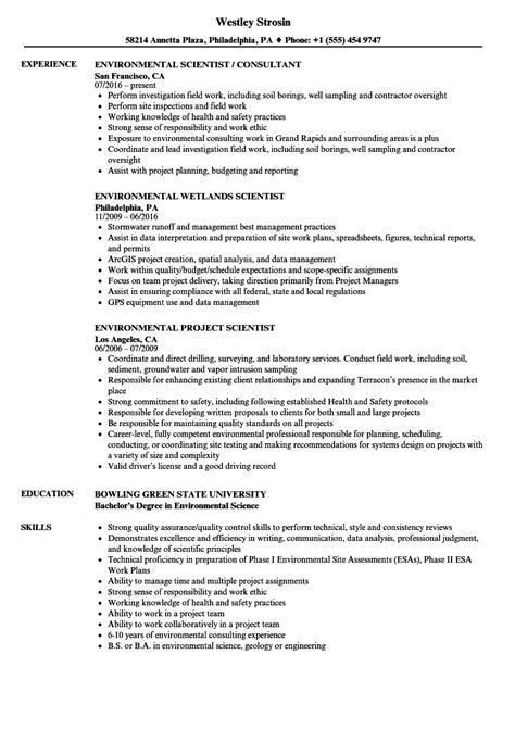 Scientist Resume by Environmental Scientist Resume Exle Vvengelbert Nl