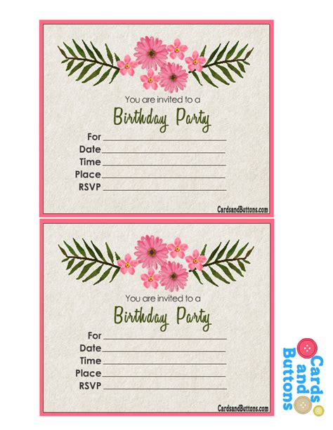 Free Printable Floral Invitations for Birthday