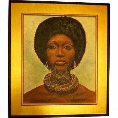 African 1970s Oil Painting American Portrait Afro