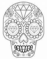 Skull Coloring Sugar Pdf Printable Downloadable sketch template