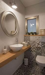 Fliesen Mit Muster : g ste wc mit muster fliesen und holzwaschtisch haus ~ Michelbontemps.com Haus und Dekorationen