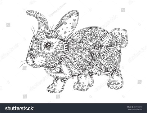 Handdrawn Rabbit Ethnic Floral Doodle Pattern Stock Vector